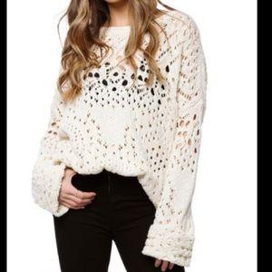 Free People Knit Lace Crochet Sweater